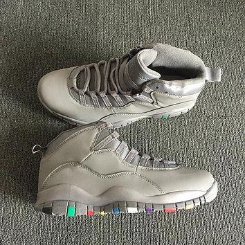 air jordan 10 aj 10 grey colorful men basketball shoes sneaker