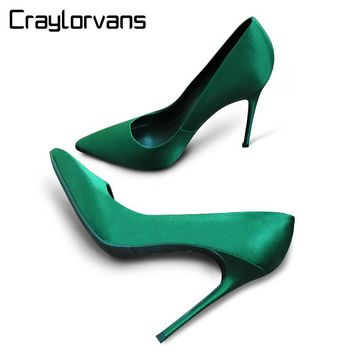 Craylorvans Sexy Emerald Women High Heels Silk Pointed Toe Wedding Shoes Elegant Party Women Shoes Luxury Women Pumps Chaussure