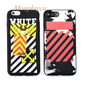 Mouplayca Candy soft TPU shell for iphone 6 6s plus 7 plus phone cases Fashion WHITE OFF pattern back cover case Coque