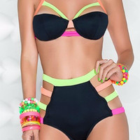 Neon Cage Blacklight Glow Two Piece