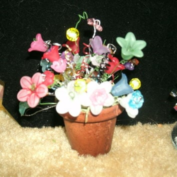 Minature flowers potted, made to order, Get well gift,  home decor, lucite floral arrangements, have others available  in upcycled container