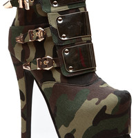 Camo Gold Plated Core Platform Booties