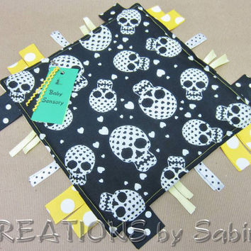 Baby Sensory Blanket Toy, Ribbon Tag Toy, Gender Neutral, Unisex, Yellow, Skulls, Hearts, Dots, Minky Padded, READY TO SHIP 126
