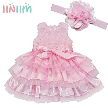 Cute Infant Baby Flower Double Layers Fluffy Dress Pink Baby Girls Tutu Dress With Headband Birthday Sets for Baby Clothing