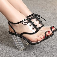 Transparent PVC Peep Toe Pumps Lace Up Slingback High Heels Cutout Shoes