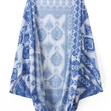 Blue  and White Tile Pattern Kimono