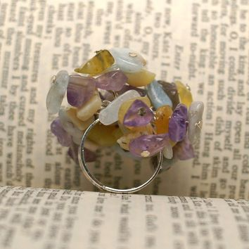 Amethyst, Aquamarine and Wax Opal Cluster Ring by SticksAndTomes