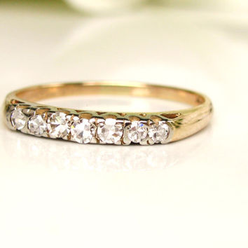 Vintage Diamond Wedding Band 14K Two Tone Gold Art Deco Wedding Band Diamond Wedding Ring Bridal Jewelry Stacking Ring Size 7