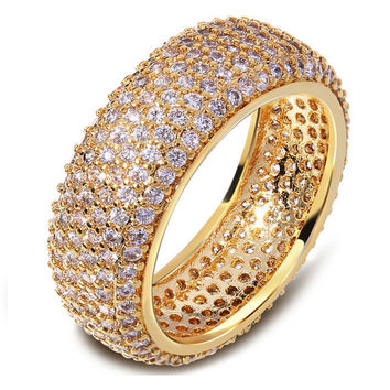 Super zircon Engagement Ring 2016 hot selling wedding jewelry fashion female CZ diamond ring 18 k real gold plated women ring