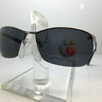 NEW RAY BAN RB3550 019/81 MATTE SILVER/GRAY POLARIZED