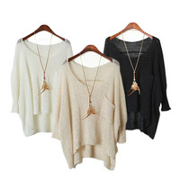 Hollow Out Knit Tops Round-neck Pullover Sweater Batwing Sleeve Blouse [9610246031]