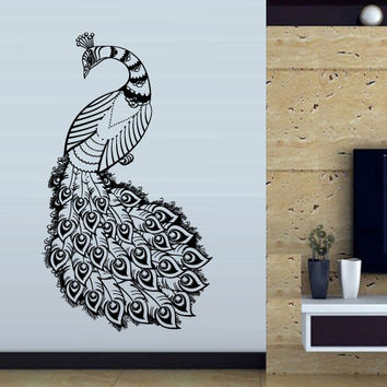 Wall decal art decor decals sticker peacock bird beauty tail feather bedroom design mural (m921)