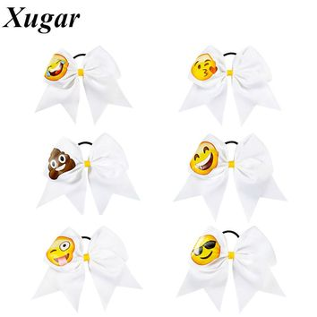 7.5'' Fashion High Quality Cute Printed Grosgrain Ribbon Cheer Bow With Elastic Band Cheerleading Bow For Girls