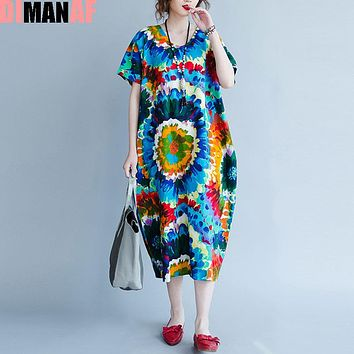 Summer Plus Size Women Dress Colorful Pattern Floral Print Linen V-Neck Female Casual Vestidos Large Maxi Vintage New Dresses