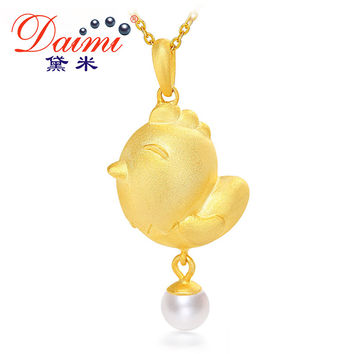 DAIMI 2017 Cock Year Gold Chicken Pendant 5-6mm Pearl & 925 Silver Pendant Necklace Peace Chick Jewlry