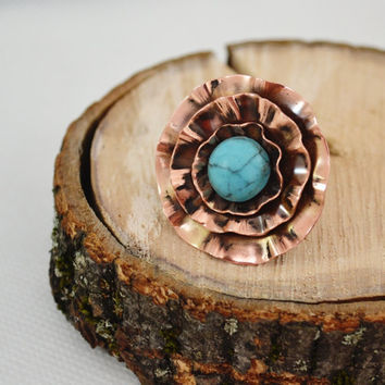 Flower Ring Copper Howlit turquoise Boho Ring Unique Ring Statement Ring Copper Sheet Embossed Not Heavy Blue Universal Rings Big Large