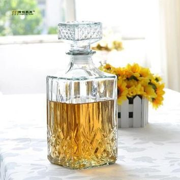 Lisipieces-1PC Lead Square Glass Wine Bottle Whiskey Decanter