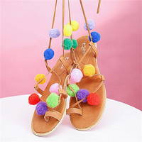 Summer New Colorful Flower Ball Pom Pom Sandals Flat Gladiator High Lace Thong Woman  Flip Flops