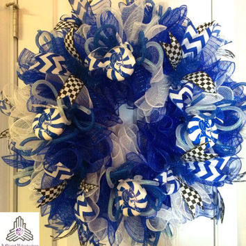 Duke University Blue Devils Ruffle Deco Mesh Wreath