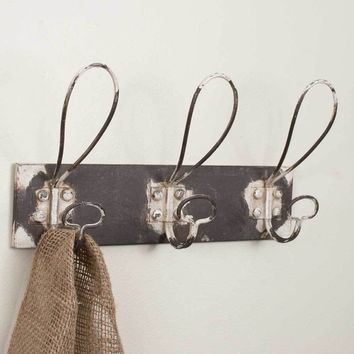 Set of 2 Three Hooks Metal Coat Rack