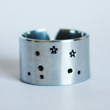 Libra constellation ring, libra ring, constellation ring, libra sign, star ring, wide ring