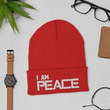 """"""" I AM PEACE"""" Positive Motivational & Inspiring Quoted Embroidery Cuffed Beanie"""