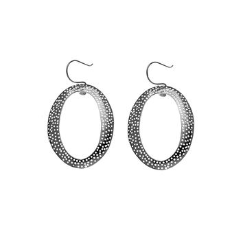 Forget Me Knot Perforated Oval Sterling Silver Earring