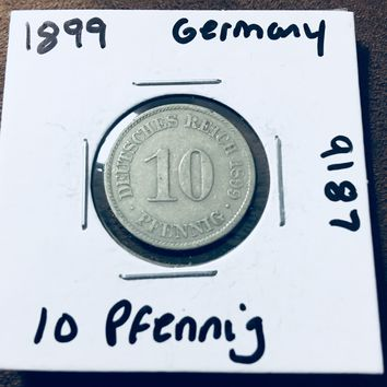 1899 German Empire 10 Pfennig Coin 9187