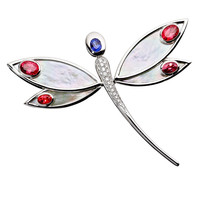 RenéSim Mother-of-Pearl Red and Blue Sapphire Dragonfly Pendant