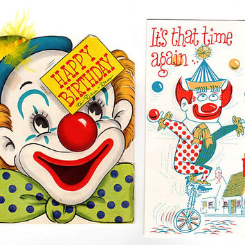 Vintage 1950's Clown Birthday Cards Little Yankee Shoes Unicycle Lot of 2 Used