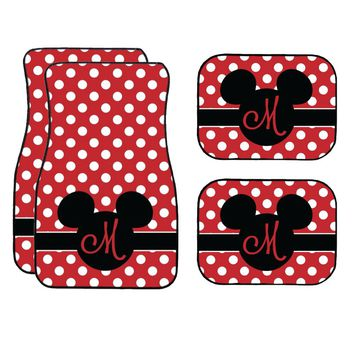 Disney Black and Red Polka Dots Mickey Mouse Inspired Car Mat / Car mat Monogram