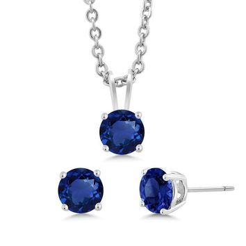 """3-Piece Set: 3 Ct Total Weight Simulated Sapphire Necklace Earrings Set 18"""""""