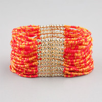 Full Tilt Multi Seed Bead Bracelet Coral One Size For Women 23451531301