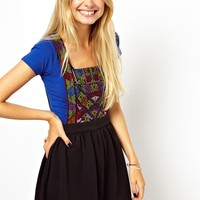 ASOS Skater Dress With Folk Embroidery