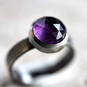 Amethyst Ring Indigo Violet Faceted Roughed Up by TheSlyFox