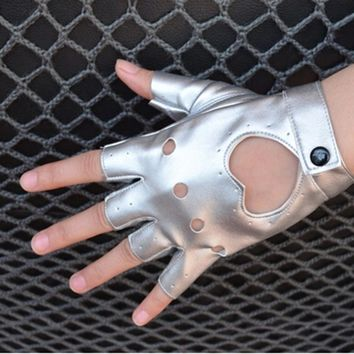 Cool Style Women's Semi-finger Hip-hop Style Gloves Lady's Artificial Leather Heart Cutout Sexy Fingerless Gloves Girls