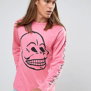 Cheap Monday Squad Long Sleeve Top Distorted Skull at asos.com