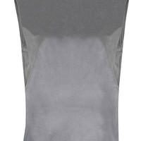 Grey Artificial Suede Tank Top with Double Layer