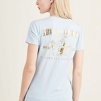 METALLIC SLIM V NECK WOMENS TEE