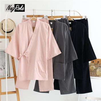 Summer 100% cotton short-sleeve women pajamas sets simple Japan kimono pajamas cotton sleep lounge Couple robe sets for women