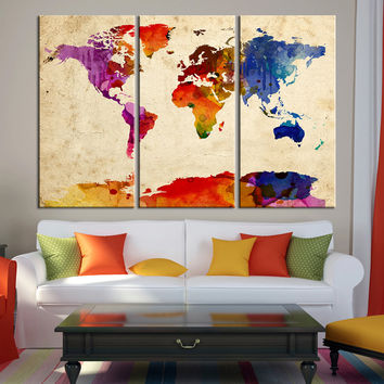 Colorful World Map Canvas Print - Contemporary 3 Panel Triptych Watercolor Abstract Colors Large Wall Art