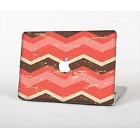 The Scratched Coral & Brown Layered Chevron V1 Skin Set for the Apple MacBook Air 13""