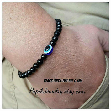 EVIL EYE BRACELET Black Onyx Bracelet Unisex Bracelet Custom Jewelry Men's Jewelry Beaded Jewelry 6 mm Beaded Bracelets Man Bracelet
