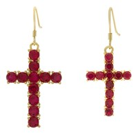 The Hanging Cross Earrings (Red)