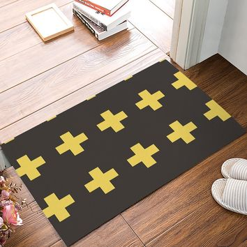 Autumn Fall welcome door mat doormat Modern Yellow And Brown Bold Plus Sign s Kitchen Floor Bath Entrance Rug Mat Absorbent Indoor Bathroom Decor s AT_76_7