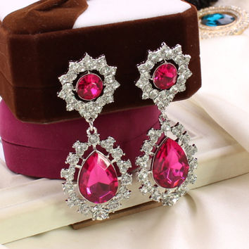 C124 explosion models in Europe and America exaggerated diamond earrings diamond flower earrings  Hot new jewelry  ROSE