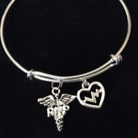 Heartbeat Registered Nurse Practitioner RNP Expandable Silver Bracelet Bangle Medical Occupational Charm Trendy