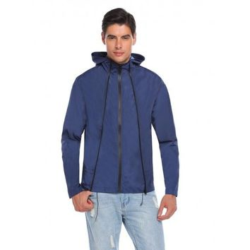Navy Blue Men Casual Hoodie Long Sleeve Front Zipper Pocket Raincoat