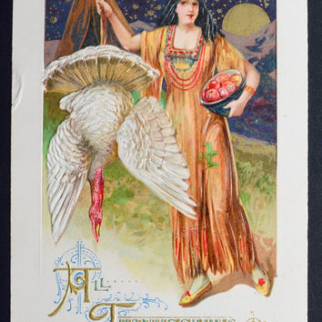 Thanksgiving Postcard, Indian Maiden, Samuel Schmucker Postcard, John Winsch Postcard, Maiden and Turkey