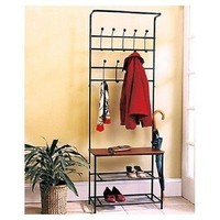 Rack Coat Hat Shoe Hall Tree Bench Entryway Entrance Foyer Mudroom Storage